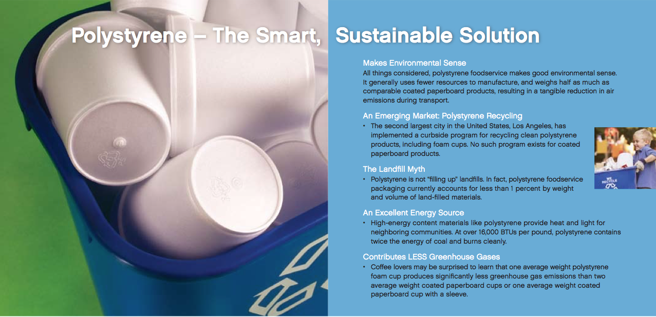Educational article about benefits of polystyrene cups in blue recycling bin