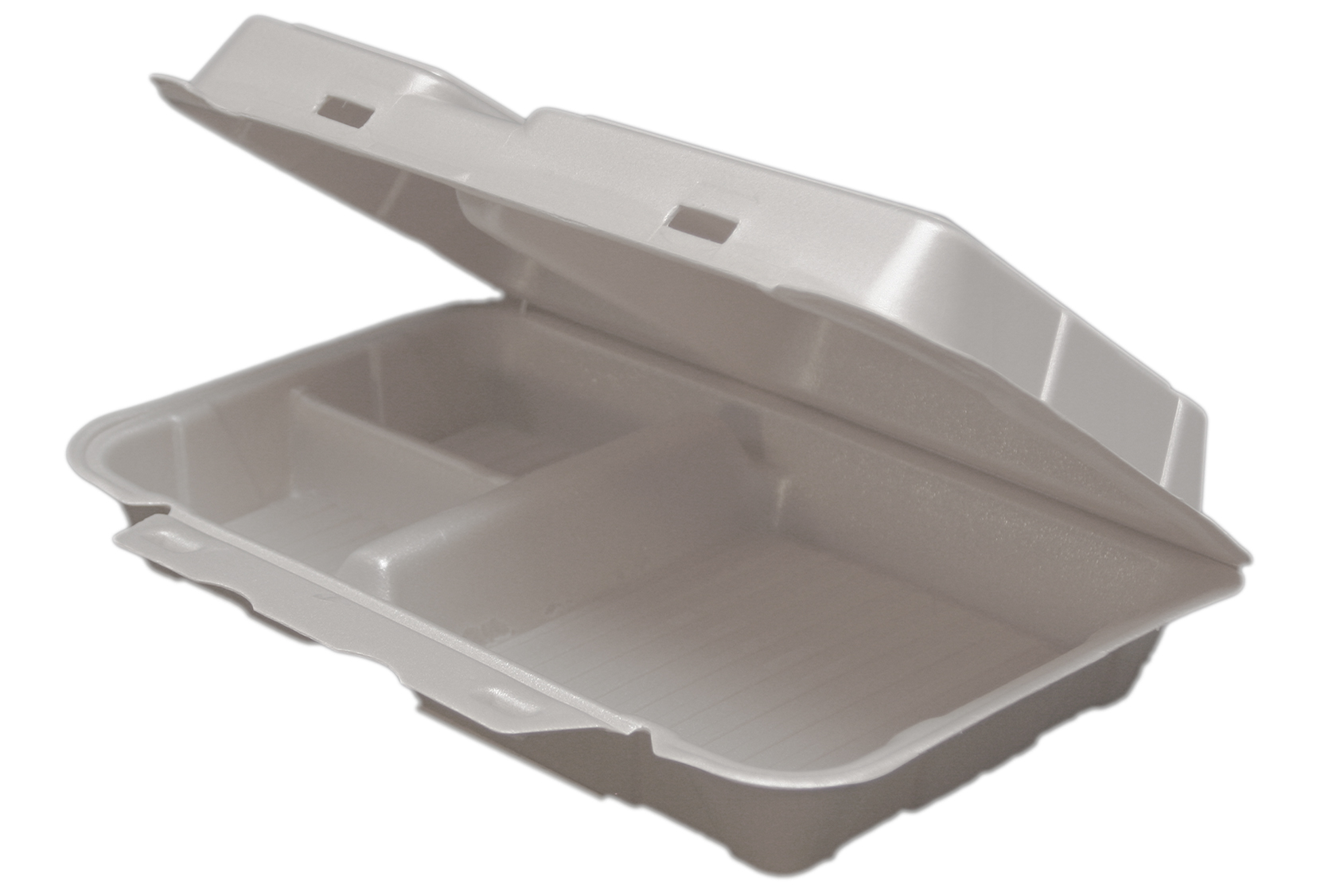 White vented hinged foam container with 3 compartments