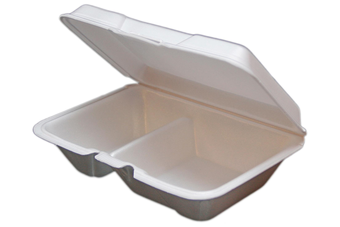 White non-vented hinged foam takeout disposable container with 2 compartments