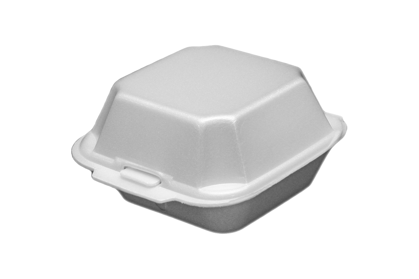 White non-vented hinged foam takeout disposable container