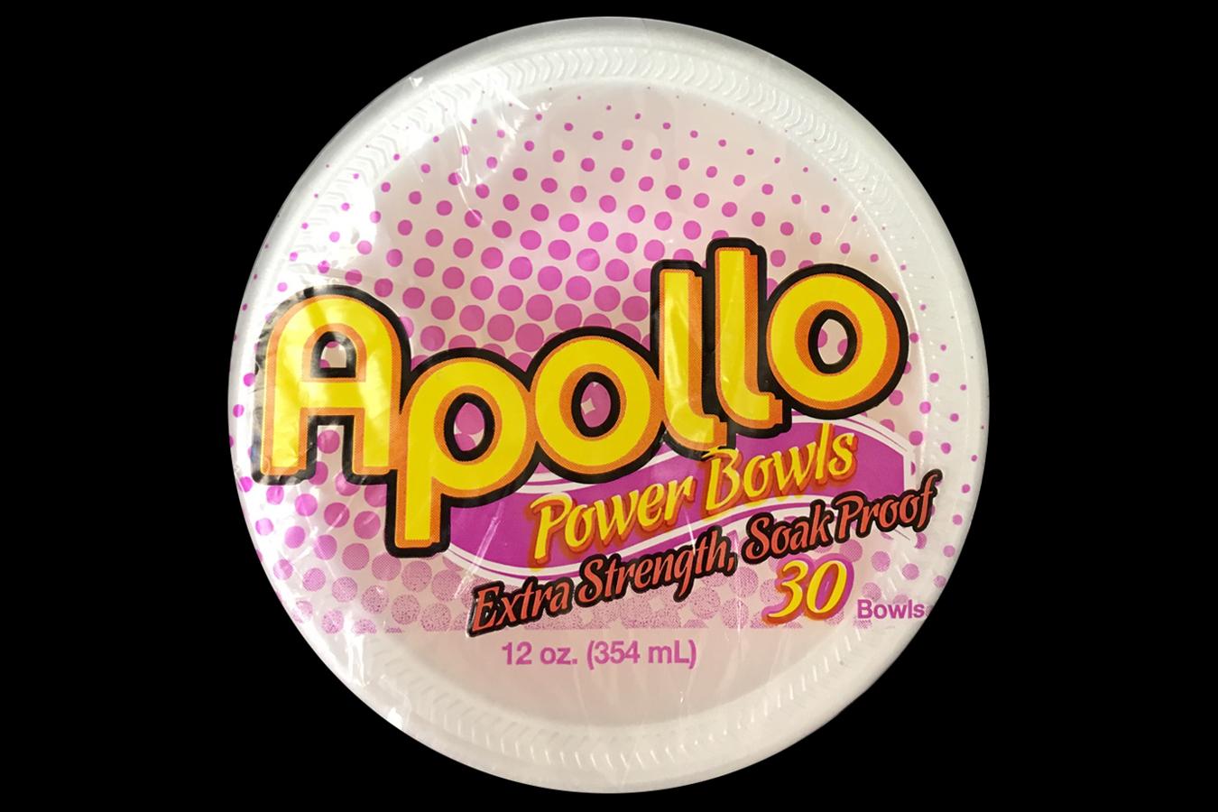 Retail pack of 30 count Apollo brand 12 oz size white foam bowl