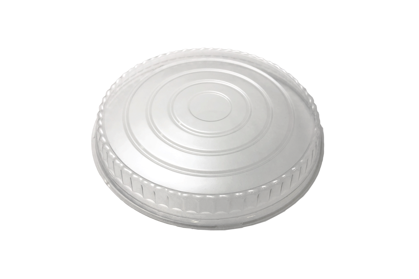 Line art illustration of clear transparent plastic non-vented lid for Ecopax 24 oz Athena paper bowl