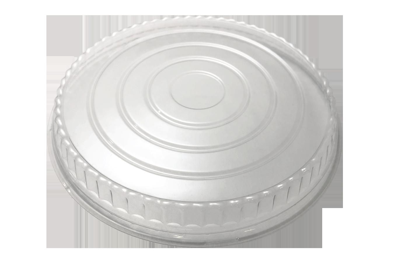 Line art illustration of clear transparent plastic non-vented lid for Ecopax 48 oz Athena paper bowl