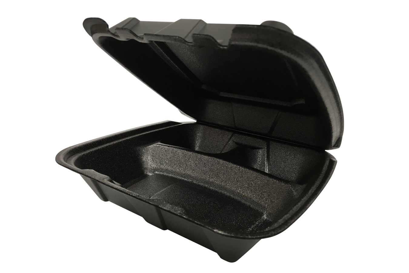 9 inches Regal brand black vented hinged foam takeout disposable container with 3 compartments