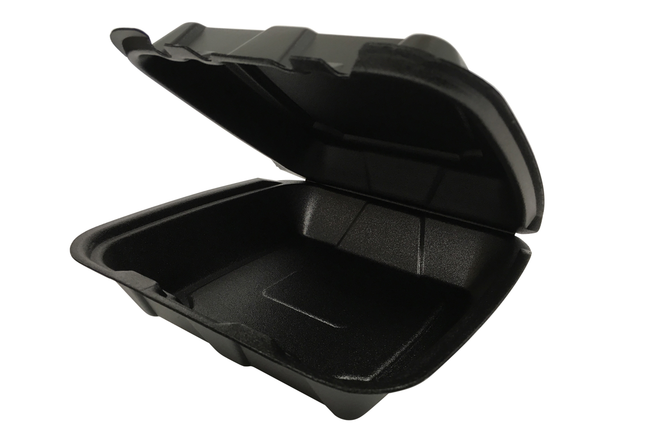9 inches Regal brand black vented hinged foam takeout disposable container