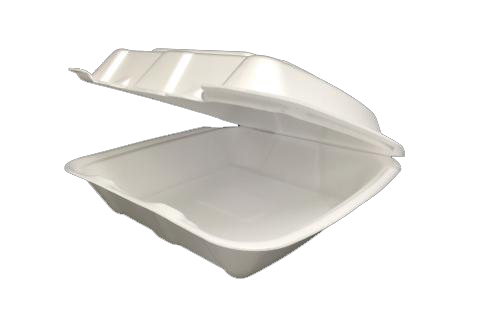 9 inches Regal brand white vented hinged foam takeout disposable container
