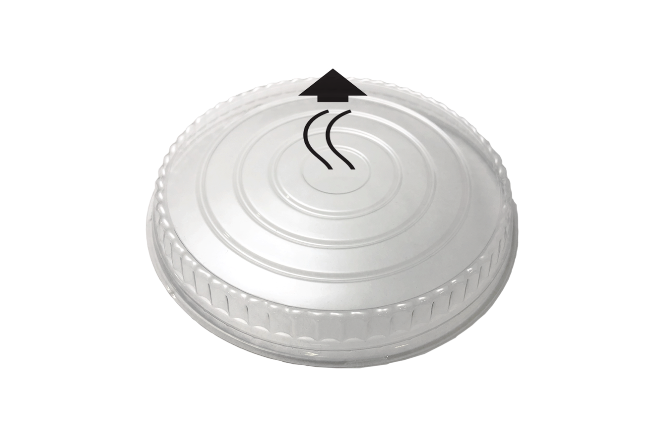 Line art illustration of clear transparent plastic vented OPS lid for Ecopax 24 oz Athena paper bowl