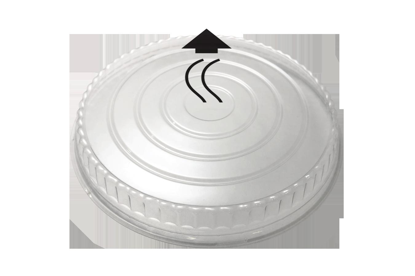 Line art illustration of clear transparent plastic vented OPS lid for Ecopax 32 oz Athena paper bowl