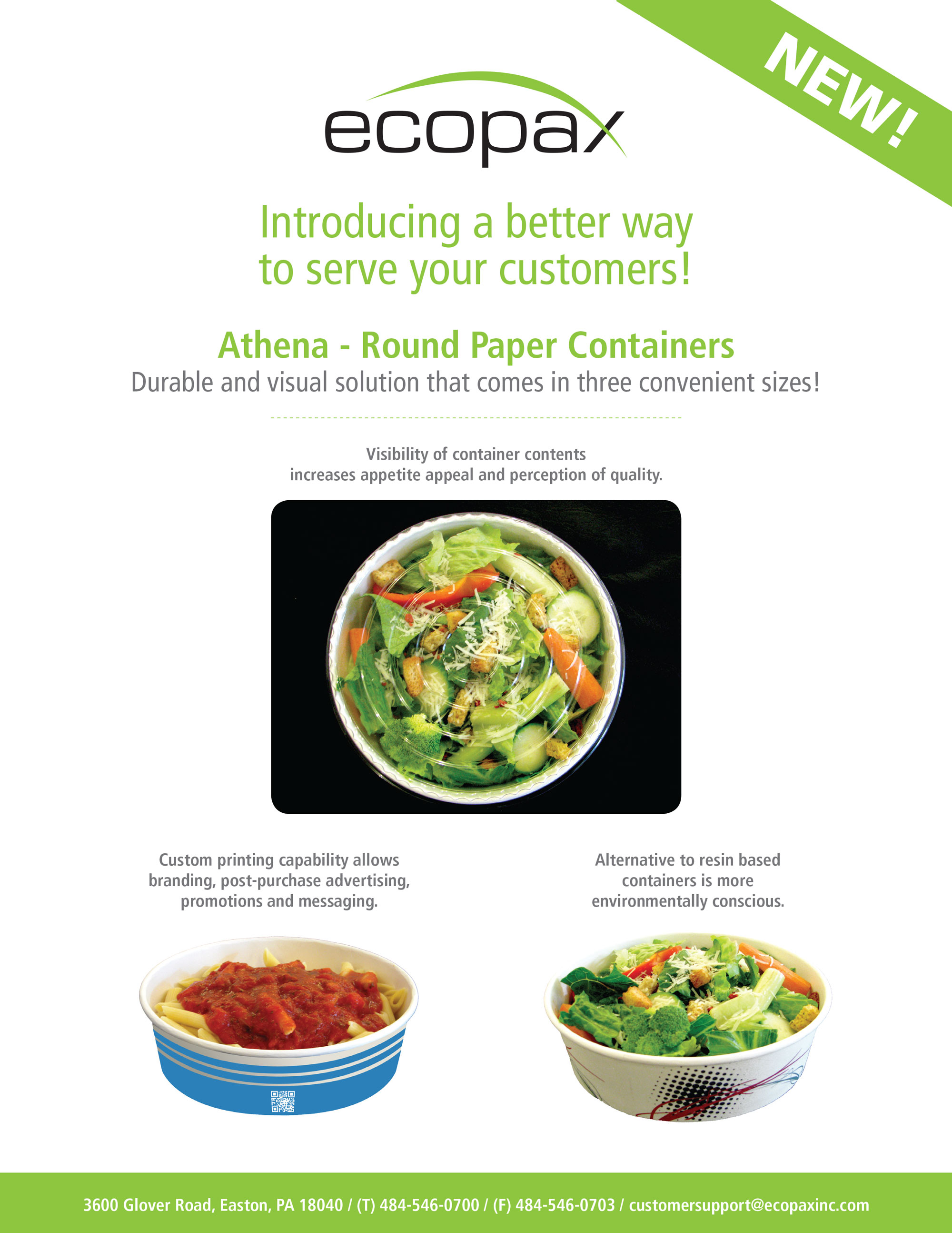 Ecopax Athena Round Paper Bowl Sale Sheet containing specs about products while featuring takeout containers with real food such as salade and pasta