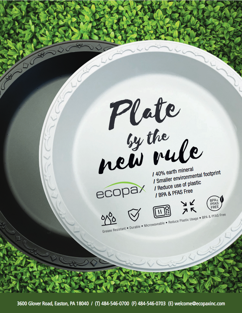 Flyer cover of Ecopax's PP plates in Black and Ivory color against green grass background