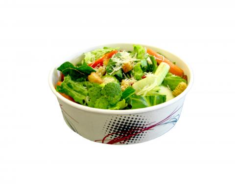 Ecopax Athena Round paper bowl takeout container with green healthy vegetables salade inside