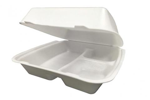 3 compartment foam takeout container. Non-vented. Hinged with two open tabs