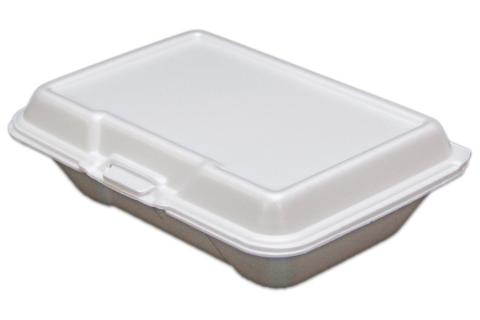 Ceres brand white non-vented hinged foam takeout disposable container
