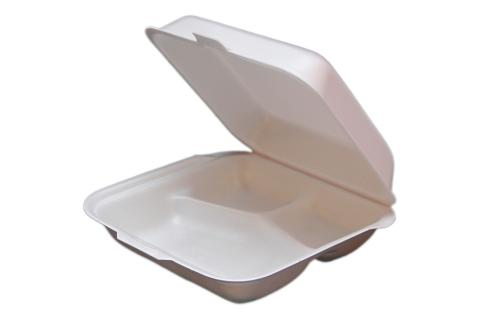 White non-vented hinged foam takeout disposable container with 3 compartments