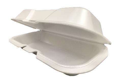 White non-vented hinged foam takeout disposable container for hot dog
