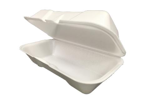 White hoagie non-vented hinged foam takeout disposable container for hot dog