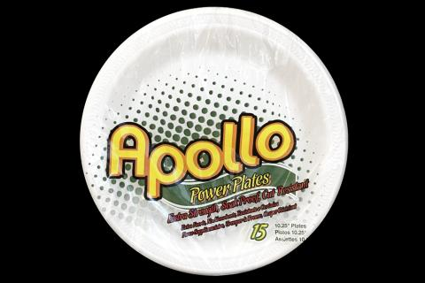 Retail pack of 15 count Apollo brand 10 inches white foam plates