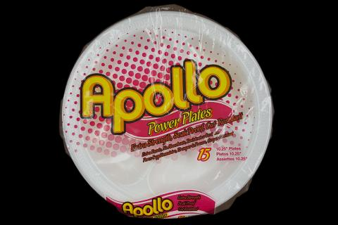 Retail pack of 15 count Apollo brand 10 inches white foam plate with 3 compartments
