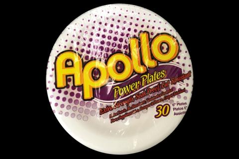Retail pack of 30 count Apollo brand 6 inches white foam plates