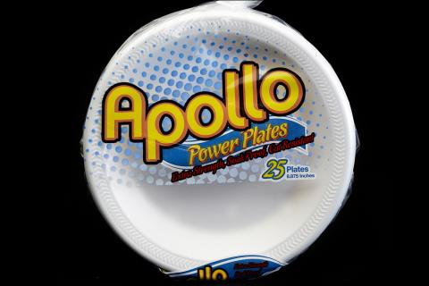 Retail pack of 25 count Apollo brand 9 inches white foam plates