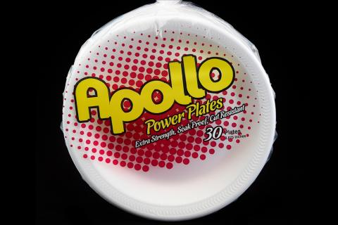Retail pack of 30 count Apollo brand 9 inches white foam plates