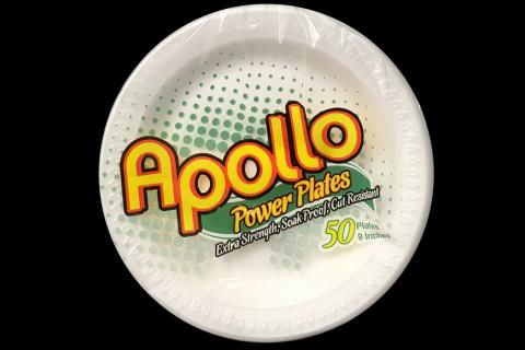 Retail pack of 50 count Apollo brand 9 inches white foam plates
