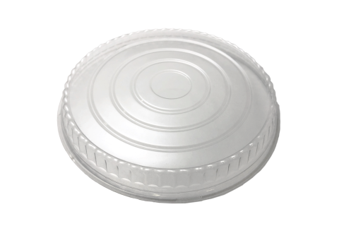 Line art illustration of clear transparent plastic non-vented lid for Ecopax 32 oz Athena paper bowl
