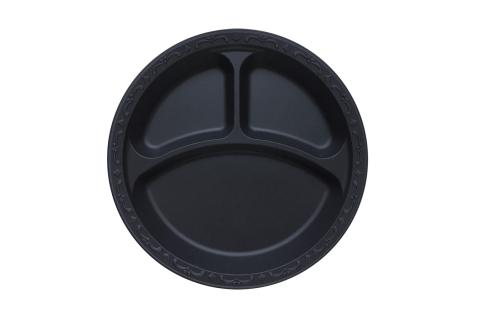 Black Polypropylene PP Plastic round 9 inches pebble box plate with 3 compartments
