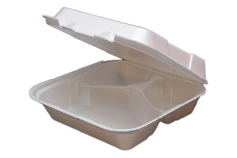 8 inches Regal brand white vented hinged foam takeout disposable container with 3 compartments