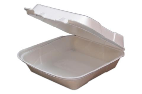 8 inches Regal brand white vented hinged foam takeout disposable container