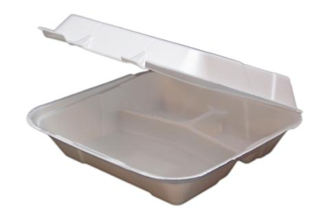 9 inches Regal brand white vented hinged foam takeout disposable container with 3 compartments